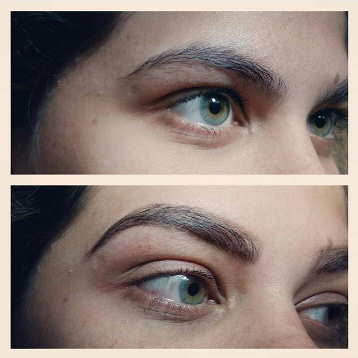 foto de antes e depois de design de sobrancelhas